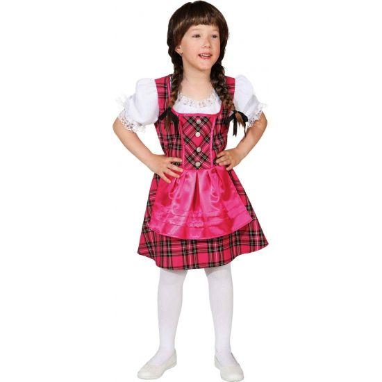 Roze Tirolerjurk voor meisjes. Oktoberfest jurk voor kinderen in de kleur roze. Verkrijgbaar in verschillende maten.