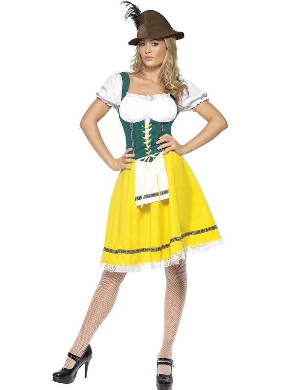 Tyrolerkjole gul og grønn - Oktoberfest kostyme for voksne