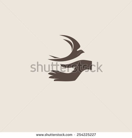 Swallow bird abstract vector logo design template. Creative concept symbol icon. - stock vector