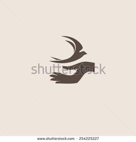 Swallow bird abstract vector logo design template. Creative concept symbol icon. - stock vector