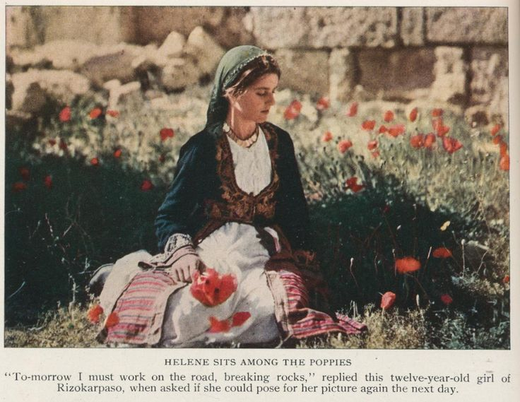 Rizokarpaso Cyprus 1928. Helen sits among the poppies. MAYNARD OWEN WILLIAMS/National Geographic Creativehttp://www.natgeocreative.com/ngs/photography