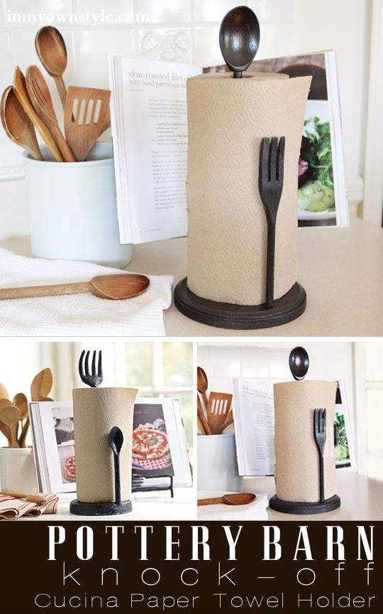 Need a clever gift to make for a new homeowner or even for your own kitchen? This Pottery Barn knock-off kitchen paper towel holder is easy to DIY and a fun woodworking project. | In My Own Style