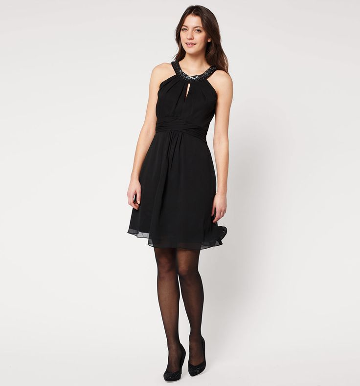 Gedrapeerde jurk in zwart