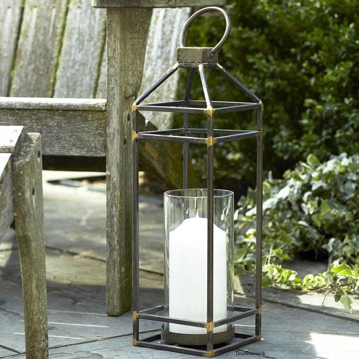 "Large Candle Lantern Coastal Rustic Style Metal Glass Hurricane Patio Accent 23"" #MIC #RusticCoastalIndustrial"