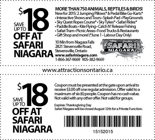 Safari Niagara Coupons