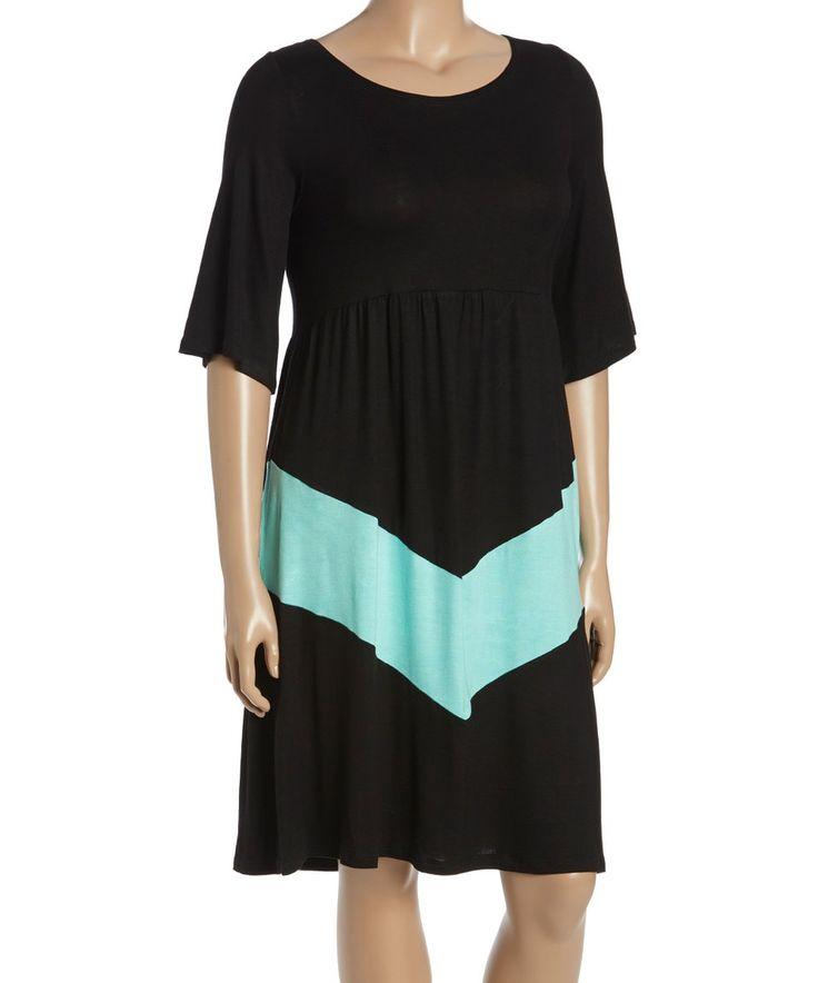 Take a look at this Black & Mint Chevron Midi Dress - Plus today!