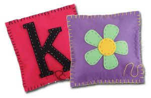 I helped 7 little 7-10 yr-olds sew these initial pillows last weekend.  They loved it!  So fun and cute!