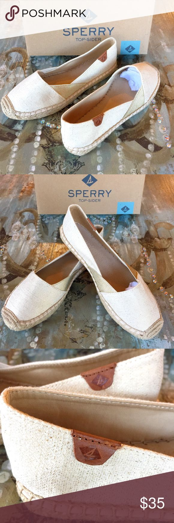"""SPERRY TOP-SIDER These are BRAND NEW WITH TAGS """"Katama Cape Gold"""" woman's Sperrys! They are a size 7 but will also fit a 6.5. These have never been touched and are in PERFECT condition! These are the perfect boat shoes! These shoes will come exactly how you will purchase them from the SPERRY store (box, stuffing, tissue, etc.)! :) Sperry Top-Sider Shoes Flats & Loafers"""