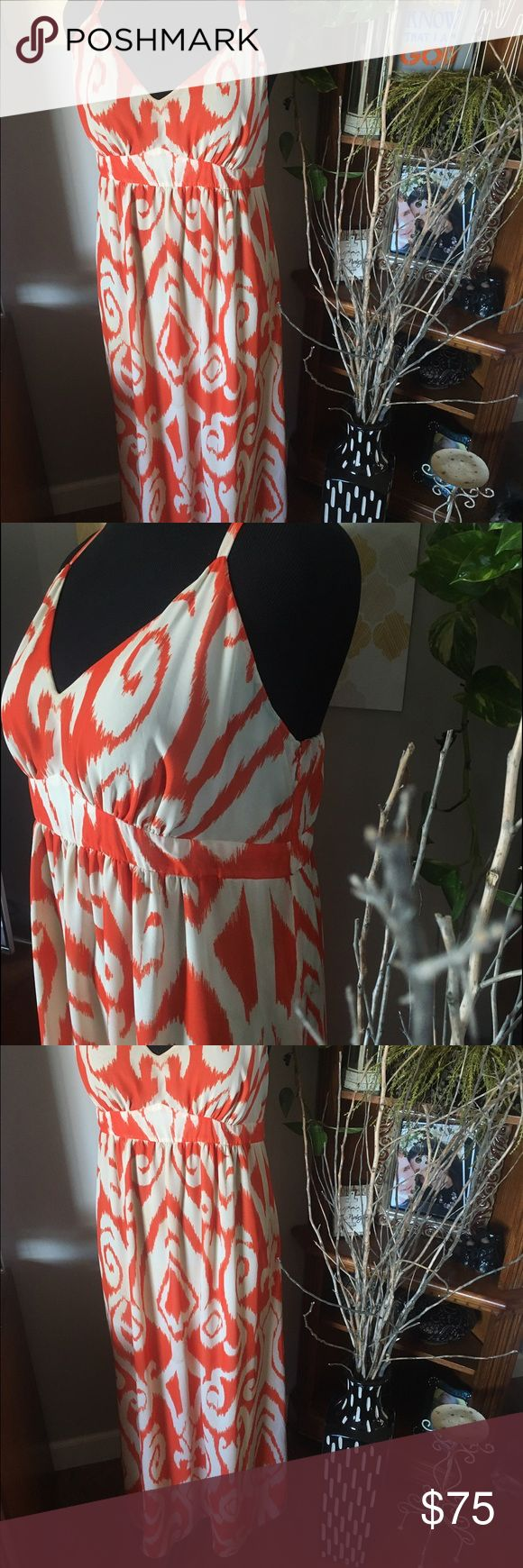 Chiffon Swirl Maxi Orange and White swirl maxi. Gorgeous, effortless style. Adjustable straps. Empire waist flatter as your curves effortlessly. Size 16, but fits my 18/20 frame. Reference: my bra size is 40DD and there's a little room to spare with my large butt/hips. So if your chest isn't any bigger than mine a 18/20 dress size could easily rock this just as much as a size 16! No tags, only worn and washed once. INC International Concepts Dresses Maxi
