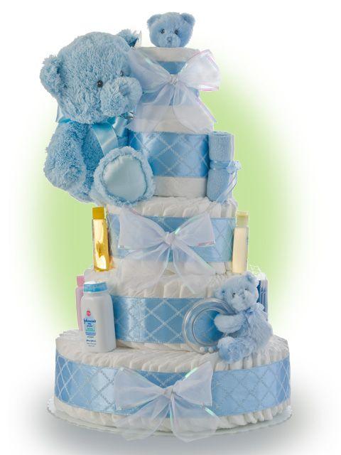 baby boy shower ideas decorating | Baby Shower Diaper Cake Ideas for Boys Blue Teddy Bear