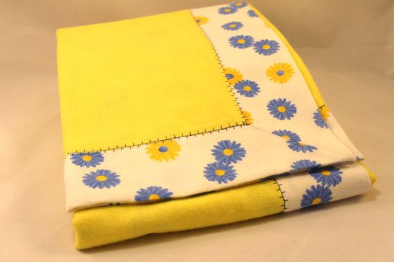 Double Layer Receiving Blanket  Yellow Blue Daisy by KRaeDesign
