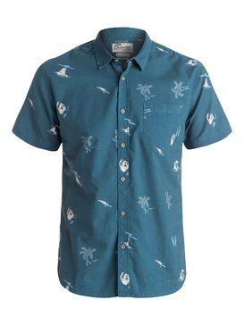 quiksilver, Spinning Island Short Sleeve Shirt, SPINING ISLAND DARK DENIM (brq6)