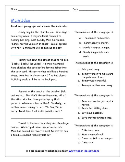 Main Idea Worksheets Free Free Worksheets Library – Kindergarten Main Idea Worksheets