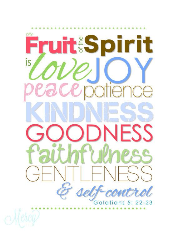 FRUIT of the Spirit (Galatians 5) INSTANT DOWNLOAD Digital File to Print Christian Typography Art / Baby Girl Nursery Room Home Decor via Etsy