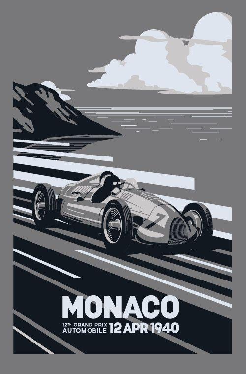Screenprinted Racing  Poster, 1940 Monaco