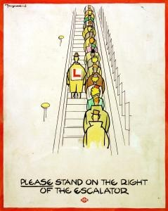London Underground posters: Please stand on the right of the escalator, by Fougasse, 1944