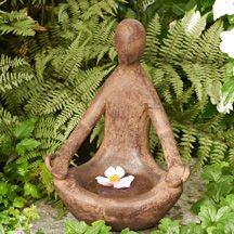 Our contemplative garden goddess statue will cradle an ever-changing array of offerings -- float a flower, place a flickering candle, scatter tiny treats for the birds or add other personal touches to the rounded basin formed by her quiet meditation pose. 12 lbs. 9 w x 6 d x 12 h