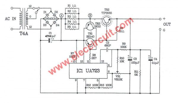 0-30V Variable Power Supply circuit Diagram at 3A