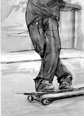 Skateboard....surf art drawing by Andoni Galdeano
