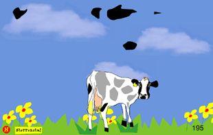 *▶ Vlekkenspel! Oeps: de koe is haar vlekken kwijt! Gelukkig komen deze spontaan uit de lucht vallen en hoeft ze niet zo lang in haar blootje te staan.