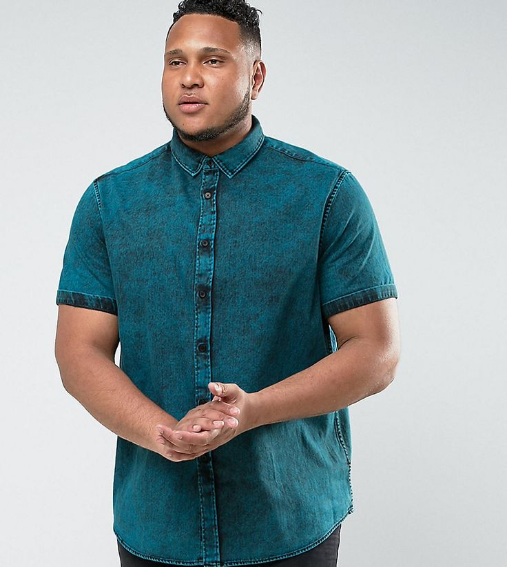 ASOS PLUS Regular Fit Denim Shirt With Acid Wash In blue - Green