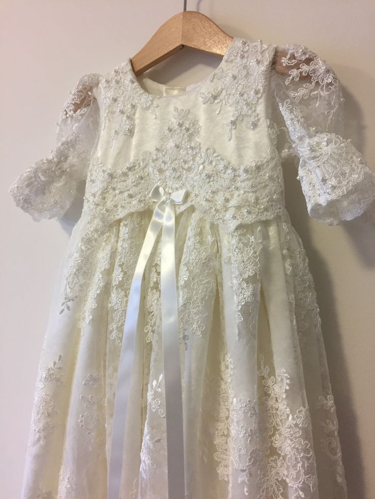 Gorgeous dress with lace bodice and cute ribbon - Perfect for coming home outfit or Christening | Bisou Baby #cominghomeoutfit #specialoccasion #christeningdress #babygirl