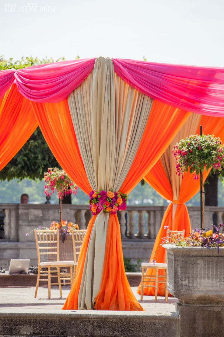 vibrant orange and pink indian wedding indian ceremony mandap wedding - Orange Canopy Decorating