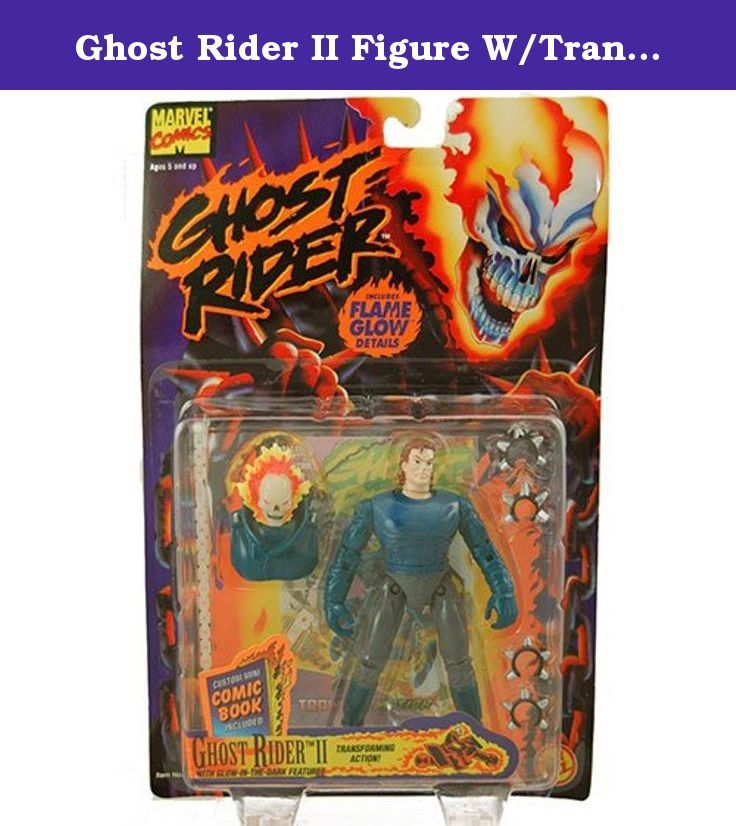 Ghost Rider II Figure W/Transforming Action and Glow-in-the-Dark Features (1995 ToyBiz). Part of the 5 inches tall Ghost Rider poseable action figure line. Ghost Rider II with Glow-In-The-Dark Features and Transforming Action. Transform Ghost Rider into human and then back again. Comes with exclusive Ghost Rider mini-comic book. Made by Toy Biz in 1995 and long out of production.