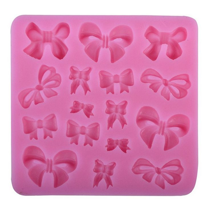 Silicone Mould with 16 Assorted Miniature Bows