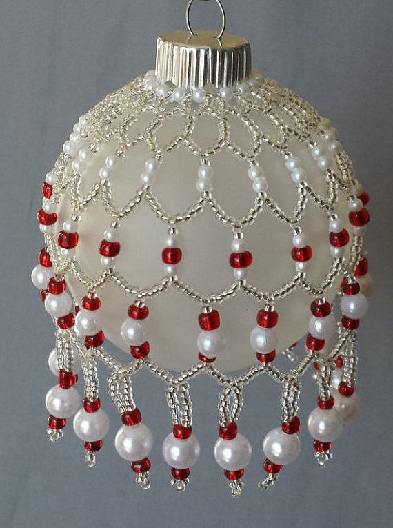 """Glass Beaded Cover and Ornament, Red Seed Beads, Siver Seed Beads, Pearl Molded Beads, Swag and Drop, 2 3/16"""" Diameter Ball; Gift Wrapping"""