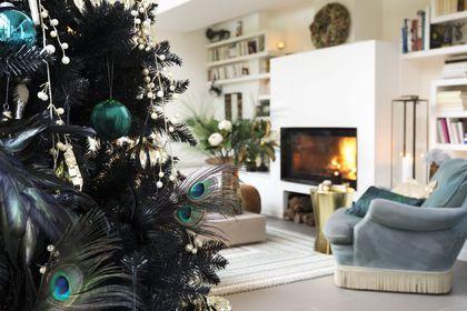 Déclinaison de bleu paon dans le sapin de Noël...