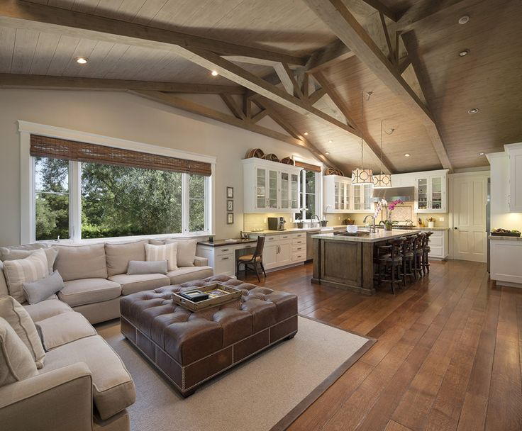 neutral living room, wood beamed ceiling