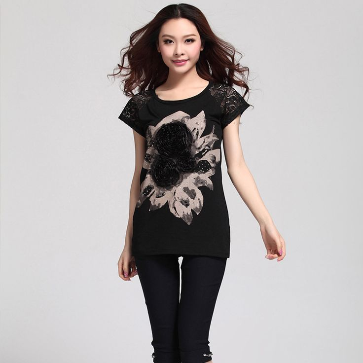 New Summer Style Larger Woman T-shirt Plus Size L-5xl Lady Loose Clothing Casual Tees Tops Slim T-shirts Fashion Flower Shirts