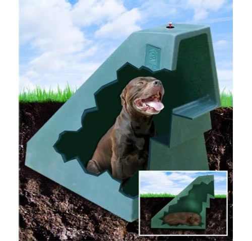 """Miller Pet Products has come up with the idea to help keep dogs cool in the summer and warm in the winter even when outside. Made of 20% recycled materials and designed to be mostly underground, this eco-friendly dog house uses the Earth's own temperature control system to heat and cool a special space for your dog. According to Miller Pet Products, the shell is ""indestructible,"" leak-proof, UV resistant, chew-proof, and comes with a lifetime warranty. Plus, with it partially buried, you…"