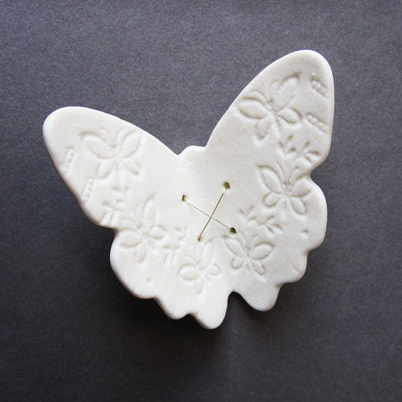 White Ceramic Wall Decor | Flutter Butterfly White porcelain wall art sculpture Ceramic lace wing ...