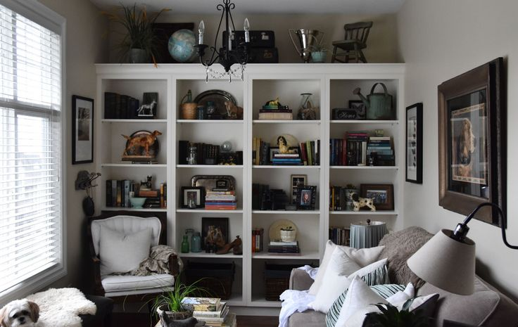home library with open display shelves