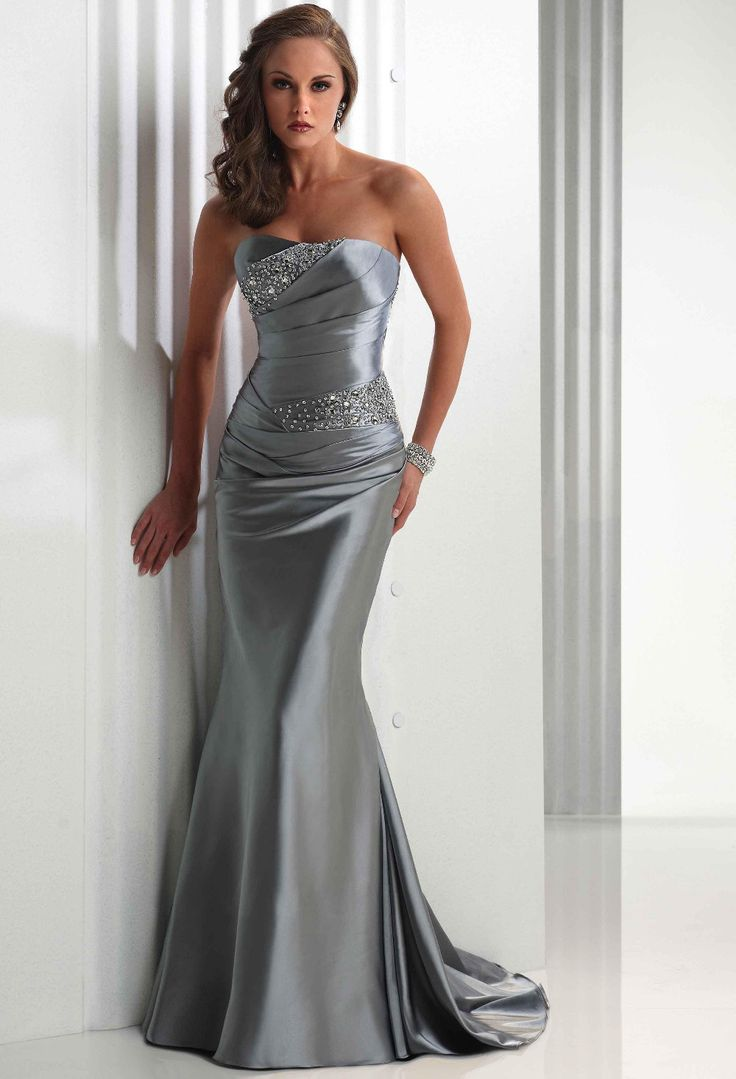 13 best silver bridesmaid dress images on pinterest dress shops vintage strapless satin silver wedding dresses with lace ombrellifo Choice Image
