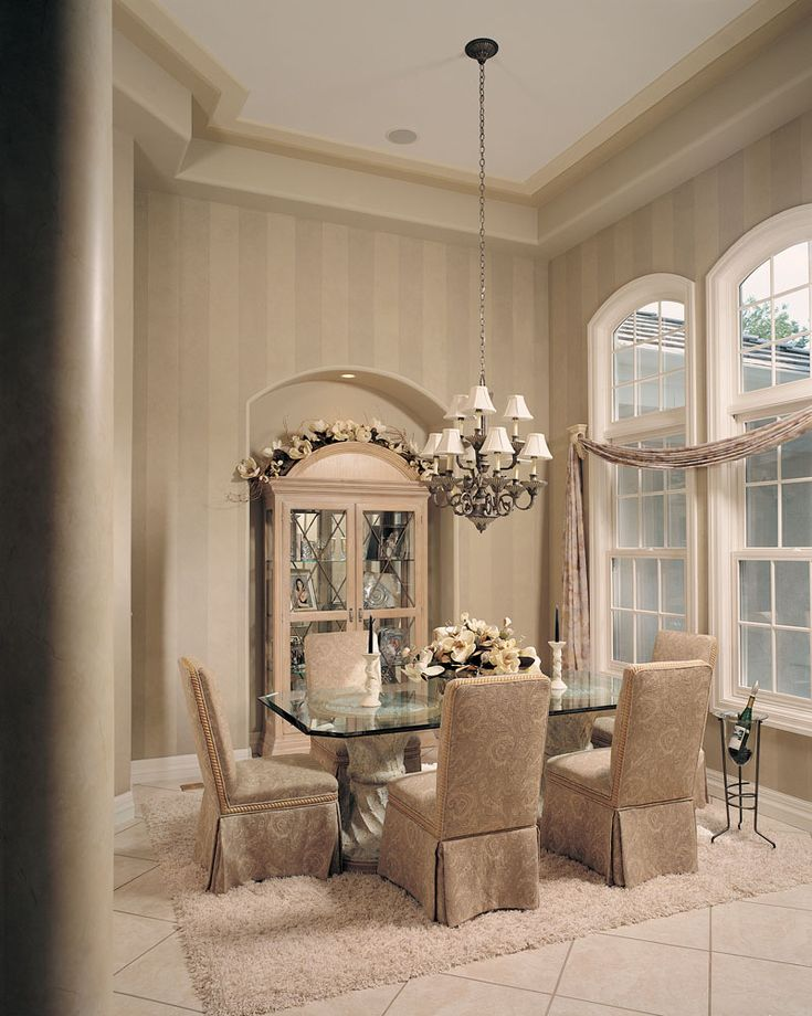 Formal Dining Room--Love the windows, wallpaper and crown moulding!