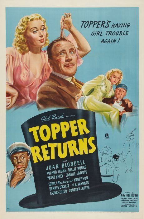 TOPPER RETURNS 1937 ROLAND YOUNG JOAN BLONDELL MOVIE AD POSTER REPRODUCTION 8X10
