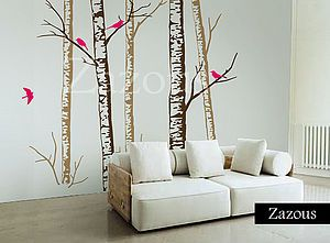 Birch Forest Brown Wall Stickers - wall stickers