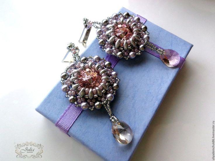 """Купить Серьги """"Vintage Rose"""" с кристаллами и жемчугом Сваровски - серьги с кристаллами, серьги со сваровски"""