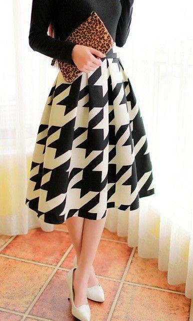 Womens Modest High Waist Mid-Length Houndstooth Skirt