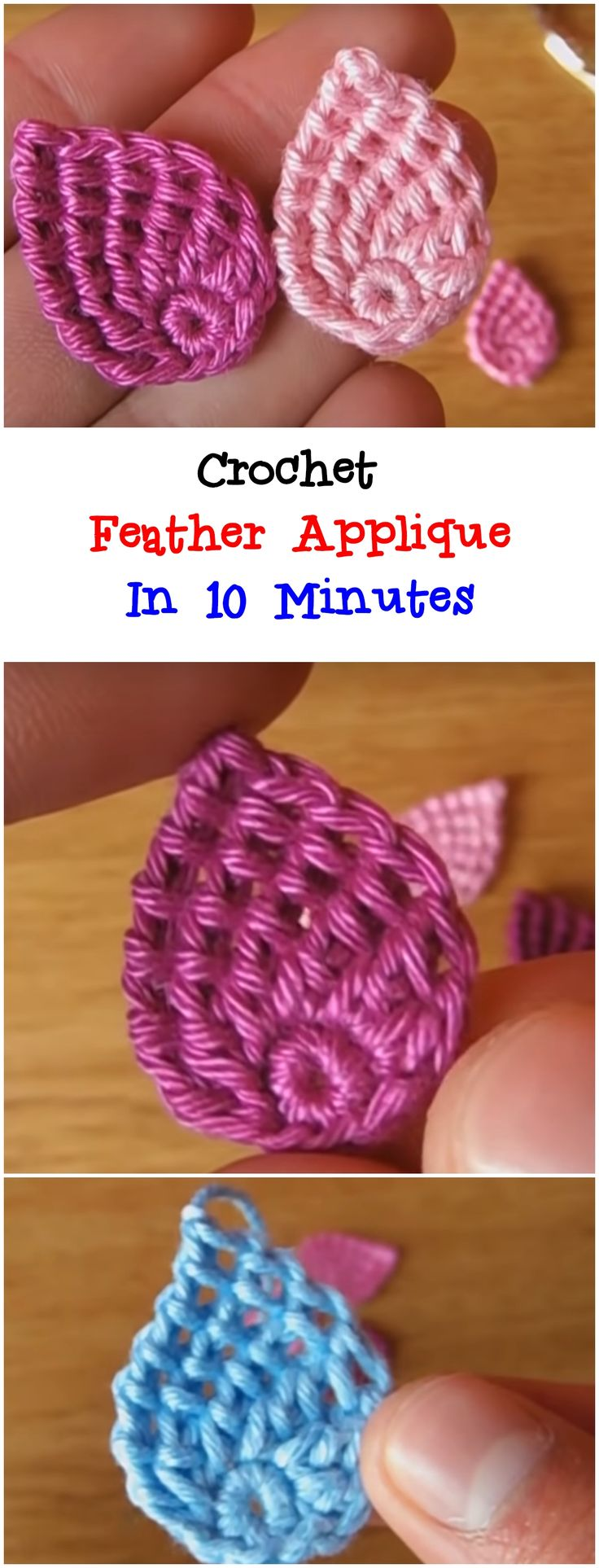 Crochet Feather Applique In 10 Minutes