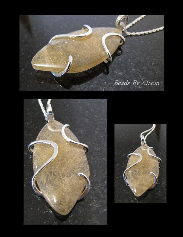 Rutilated Quartz sterling silver pendant   Pendants - Beads By Alison