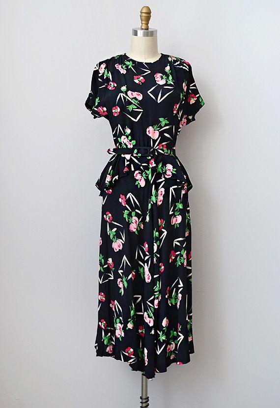 vintage 1930s 1940s silk rayon peplum dress | #1940s #1930s #vintage