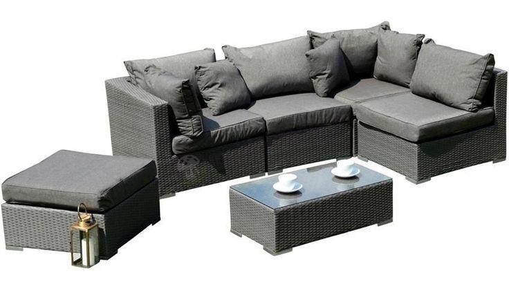 Zestaw z szarego technorattanu NILAMITO VII Grey & Grey ze stolikiem prostokątnym 90x50