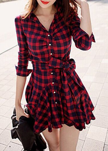 Red Plaid Flared Skater Dress -only $30.00! This sexy blue denim dress is on sale for 57% off retail price. Made from cotton blend fabric to be comfortable and durable. It has high moisture absorbency and conducts heat well (making it perfect for hot weather months).  WE SHIP WORLDWIDE AND OFFER FREE SHIPPING VIA OUR eBay store  at: www.stores.ebay.com/theofferbazaar and available to purchase at: www.shopdirectonline.net.