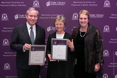 Winners announced for Premier's Book Awards - Premier Colin Barnett, Winner Helen Garner  and State Librarian Margaret Allen