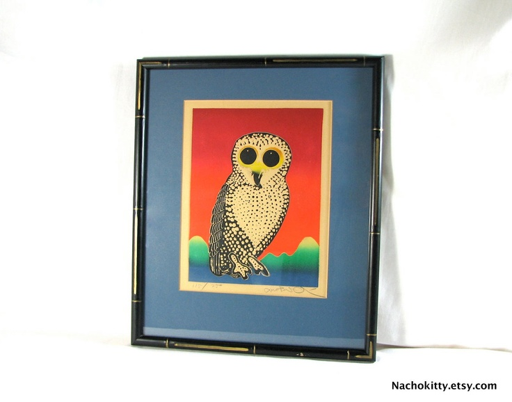 Mid Century Owl Embossed Etching Print, Handmade 115/250 by Motoi Oi, SIGNED, 1960's Vintage: 1960 S Vintage, Etchings Prints, Owl Prints, Owl Art, Century Owl, Vintage Owl, Embossing Etchings, Awesome Vintage, Owl Embossing