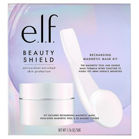 Rejuvenate your skin with e.l.f.'s Beauty Shield™ Magnetic Mask Kit. This magnetic facial mask contains magnetic properties and key antioxidants Carrot Seed Oil, Sunflower Seed Oil, Vitamin C, Vitamin E, and Argan Oil help to replenish the skin.<br><br>Kit includes:<br>Magnetic Mask: A lightweight magnetic mask enriched with antioxidants to help replenish and recharge the skin, while minimizing the appearance of pores for soft, smooth, makeup ready skin.&l...